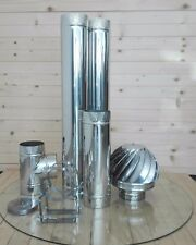 Stainless Steel Single Wall Kit  Stove Flue Pipe (150mm) 6 inch System 150 mm