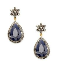 Blue Sapphire Silver Beautiful Earring Estate Vintage 5.40ct Rose Cut Diamond