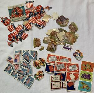 Vintage Assorted Loose Gummed Seals - Dennison - Patriotic, Religious, Animals