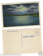 North Carolina Postcard Lake Louise ROARING GAP NC moon light 1940s unused linen