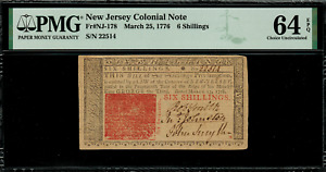 NJ-178 Colonial Currency - New Jersey March 25, 1776 6 Shillings PMG 64 EPQ