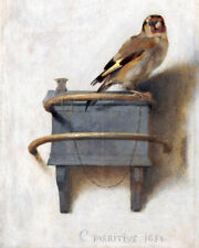 The Pet Goldfinch Yellow Finch Bird Painting Aviary 8x10 Real Canvas Art Print