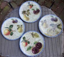 Porcelaine de La Rose F et D Limoges France Set of 4 Dif Fruit Plates w Writing