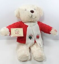 "Hallmark ""Jingle Bear"" Holiday Teddy Plays Jingle Bells Plush Stuffed Animal Nwt"