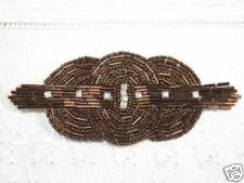 0409 ~ BRONZE RHINESTONE TRIPLE CIRCLE BEADED APPLIQUE