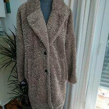 Mantel Jacke Damen Teddymantel oversize Kunstfell Beige Taupe Zara Gr. M - L