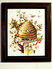 BEEHIVE PICTURE  APPLE BLOSSOMS  FRAMED 8X10
