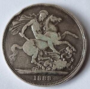 1888 Queen Victoria Jubilee Head Silver Crown Coin L12