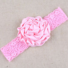 Baby Girl Wide Lace Turban Headband Head Wrap Hair Band With Rose Flower Pink