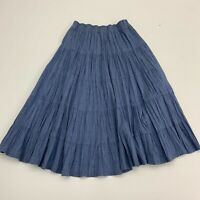 Four Seasons Prairie Skirt Womens Size M Blue Below The Knee Tiered Pull On