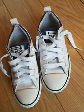 dd228d7f4479 KIDS GIRLS BOYS WHITE LEATHER LOW TOP ALL STAR CONVERSE TRAINERS SIZE UK 1.5
