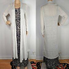 Eileen Fisher Light Grey Lightweight Linen Knit Long Duster Cardigan Womens M