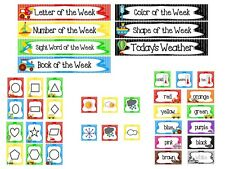 38 piece Transportation theme Weekly Focus Learning Center Labels. Class Accesso