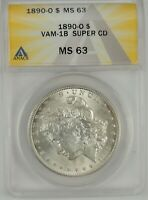 1890-O $1 Morgan Silver Dollar ANACS MS63 #6109713 VAM-1B SUPER CD - CLASHED DIE
