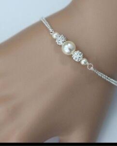 Bridal pearl and Rhinestone Bracelet,wedding,bridesmaids gift jewellery's