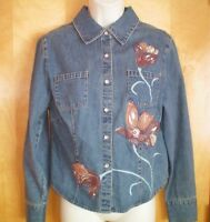 womens denim blue embellished brown painted embroidered snap front fitted shirt