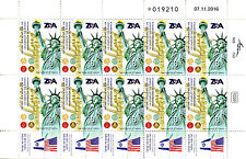Israel 2017 MNH ZOA Zionist Org America 120 Yrs 10v M/S Statue of Liberty Stamps