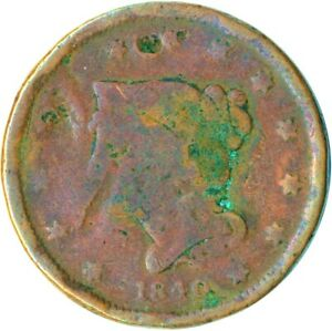 UNITED STATES / 1840 BRAIDED HAIR LARGE CENT / LIBERTY  #WT4873