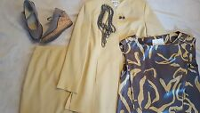 Complete Size 8 Yellow Skirt & Jacket Set Silk Shell 8 Shoes Necklace & Earrings