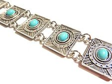 SQUARE PANEL BOHEMIAN CHOKER turquoise silver boho ethnic tribal necklace 5Y