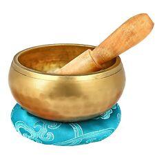 Gold Singing Bowl Meditation Metal Yoga Buddhist Shrine Chime W Mallet & Cushion