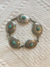 Signed Edith James Native American Sterling Silver & Turquoise Concho Bracelet