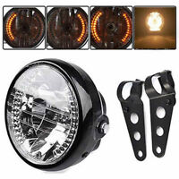 Universal 7Inch Motorcycle Headlight LED Turn Signal Light+Mount Bracket Blac SX