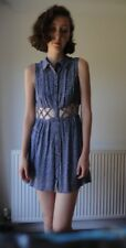 Women/Girls Blue Button Up Flowery Summer Dress, Forever 21, Used, Size Large