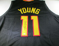 TRAE YOUNG / AUTOGRAPHED ATLANTA HAWKS BLACK CUSTOM BASKETBALL JERSEY / COA