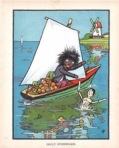Antique 1912 Signed Rosa C Petherick Ernest Nister Golly Peg Doll Boat Print