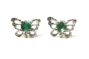 9ct White Gold Emerald studs filigree Butterfly Earrings Gift Boxed Made in UK