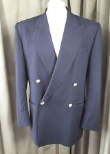 Navy Gold Button Double Breasted Merino Wool Blazer by Icaro, Made in Italy C40""