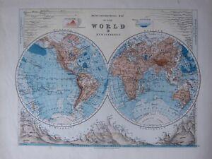 1916 MAP ~ WORLD IN HEMISPHERES WESTERN EASTERN MOUNTAINS RIVERS AMERICA ASIA