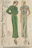 "1930s Vintage Sewing Pattern B34"" DRESS (1677)"
