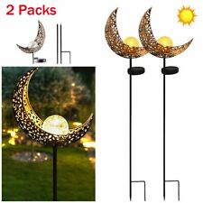 2 Pack Outdoor Led Solar Powered Lights Moon Garden Pathway Lawn Landscape Lamp