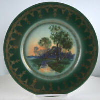 "Antique Royal Vienna Blue Beehive Cabinet Plate 9.75"" Landscape Green Gold"