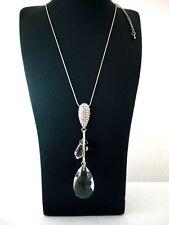 XXL Kette Halskette mit großem Kristall und Strass Feng Shui super schön Neu