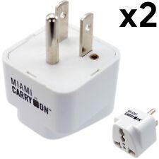 2 x Universal Power Travel Adapter, UK / EU / AU / CN to USA - Grounded (White)