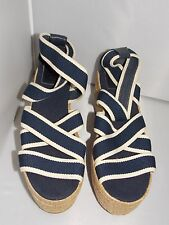 Tory Burch ESPADRILLE Blue Stripes Wedge Ankle Strap Sandals 11B New