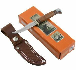 Marbles Stacked Leather Handle Hunter Fixed Blade Knife and Belt Sheath