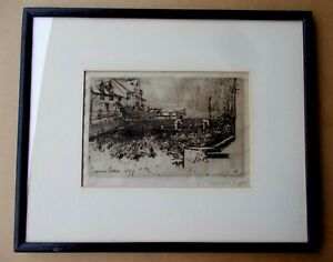 Great 1877  Francis Seymour Haden Original Pencil Signed  Etching