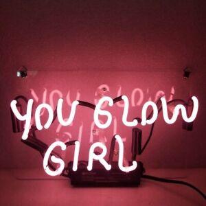 "14""x7""You Glow Girl Neon Sign Light Home Room Wall Hanging Real Glass Tube Gift"