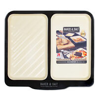 Baker & Salt Large Enamel Dual Tray Baking Roasting Roaster Oven Pan - Size 40cm