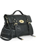 MULBERRY Oversized Alexa Black Gold Toned Leather Buckle Shoulder Top Handle Bag