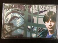 JACKSON BROWNE - LIVES IN THE BALANCE  CASSETTE  EX+(insert)/EX+(tape)