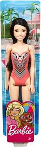 Barbie Beach Doll Brunette Pink Graphic Swimsuit Cool Print Pool Party Girl Toy