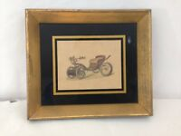"Vintage 3 1/2"" x 4 1/2"" Wood Framed Antique Car Wall Hanging Artwork Print"