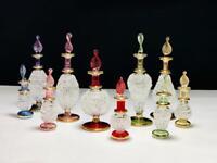 "Lot of ten Egyptian perfume bottles decorative Pyrex glass mix size 2&4 ""vials"