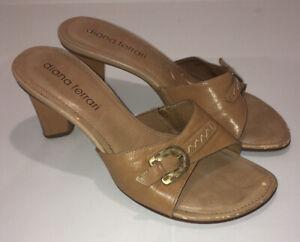 Original Vintage Diana Ferrari Tan/light Brown 90's Heel Mules Sandal 7.5 38