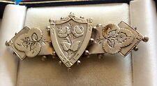 Lovely Antique Victorian Hallmarked Solid Silver Shield Brooch Birmingham 1886